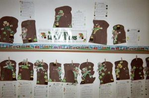 "A display of letters expressing, ""We're lucky all year long!"""