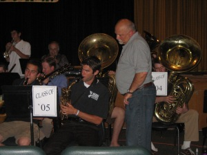 Don Haudenschild with former students and colleagues at a concert for hisretirement
